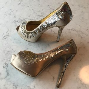 Nine West Satin Sequin Platform Heels